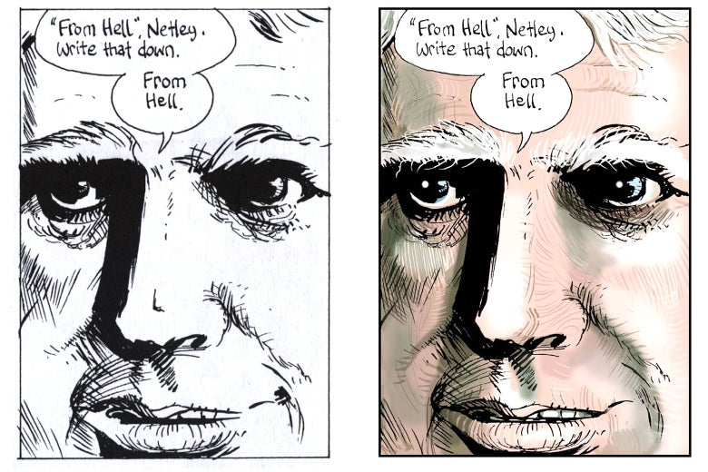 """Side by side images: black and white and colorized """"From Hell, Netley"""" panels."""