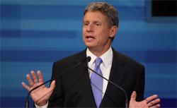 Former New Mexico Gov. Gary Johnson speaks in the Fox News/Google GOP Debate. Click image to expand.