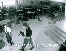 Eric Harris and Dylan Klebold during the Columbine attack, captured by surveillance camera. Click image to expand.