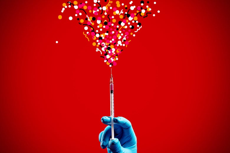 A syringe ejecting vaccine that turns into confetti against a red background.