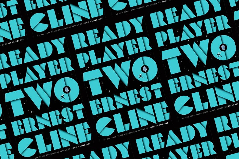The cover of Ready Player Two, with bold blue lettering on a black background, in a repeating pattern.