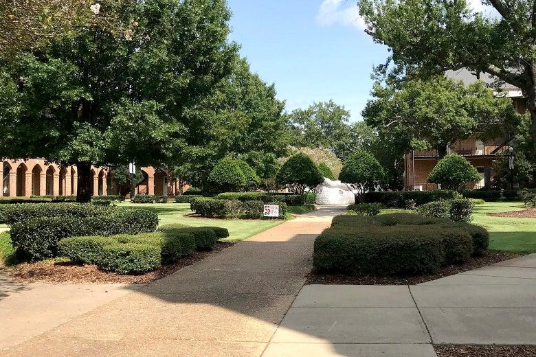 An empty University of Alabama campus.