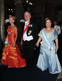 Crown Prince Alexander of Yugoslavia (C) and Crown Princess Katherine of Yugoslavia (R) attend the Wedding Banquet for Crown Princess Victoria of Sweden. Click to expand image.