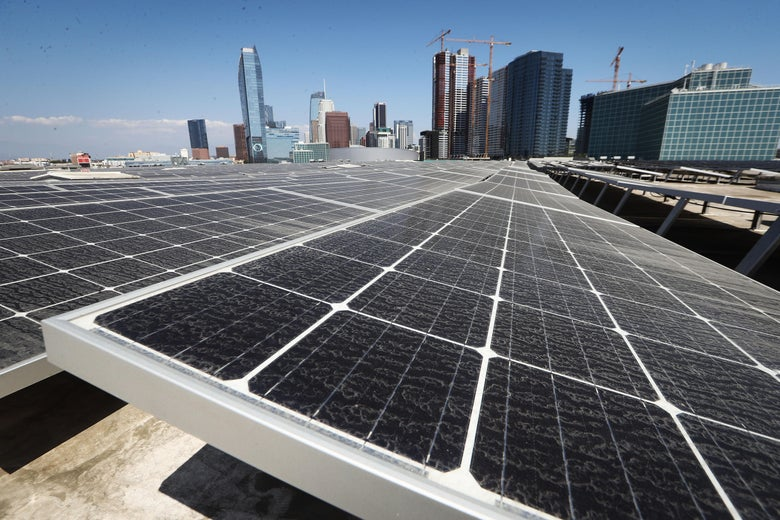 Solar panels cover the rooftop of the Los Angeles Convention Center.