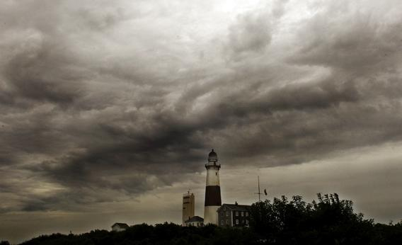 Storm clouds loom over the Montauk lighthouse as hurricane Irene makes its way up the East coast on August 27, 2011 in Montauk, New York.
