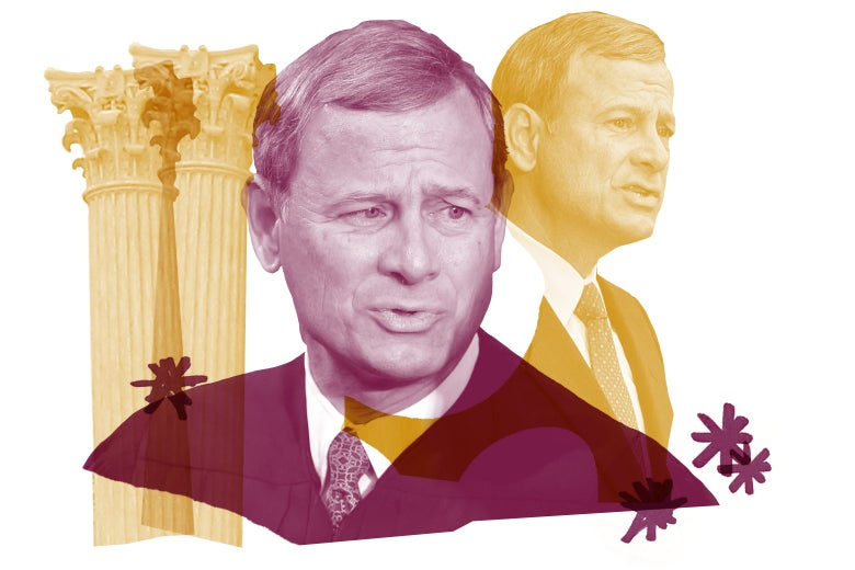Collage of Chief Justice John Roberts and columns from the Supreme Court building.