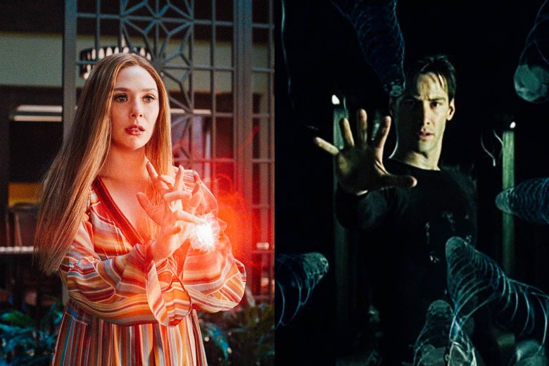 Wanda from WandaVision and Neo from the Matrix, both with their hands outstretched.