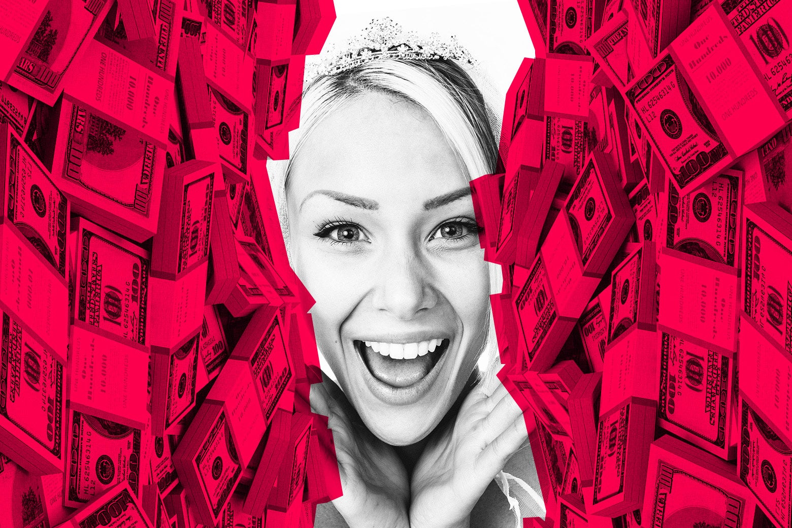 Woman looking happy set within a collage of dollar bills.