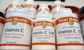 Bottles of vitamin C are displayed at Vibrant Health April 6, 2009, in San Francisco
