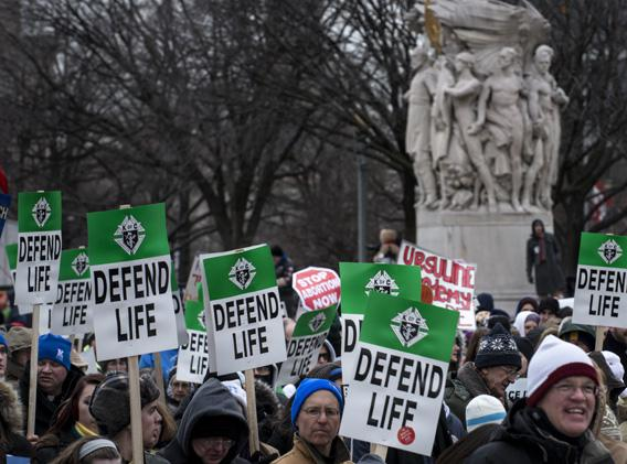 Pro-life activists march during the March for Life January 25, 2013 in Washington, DC.