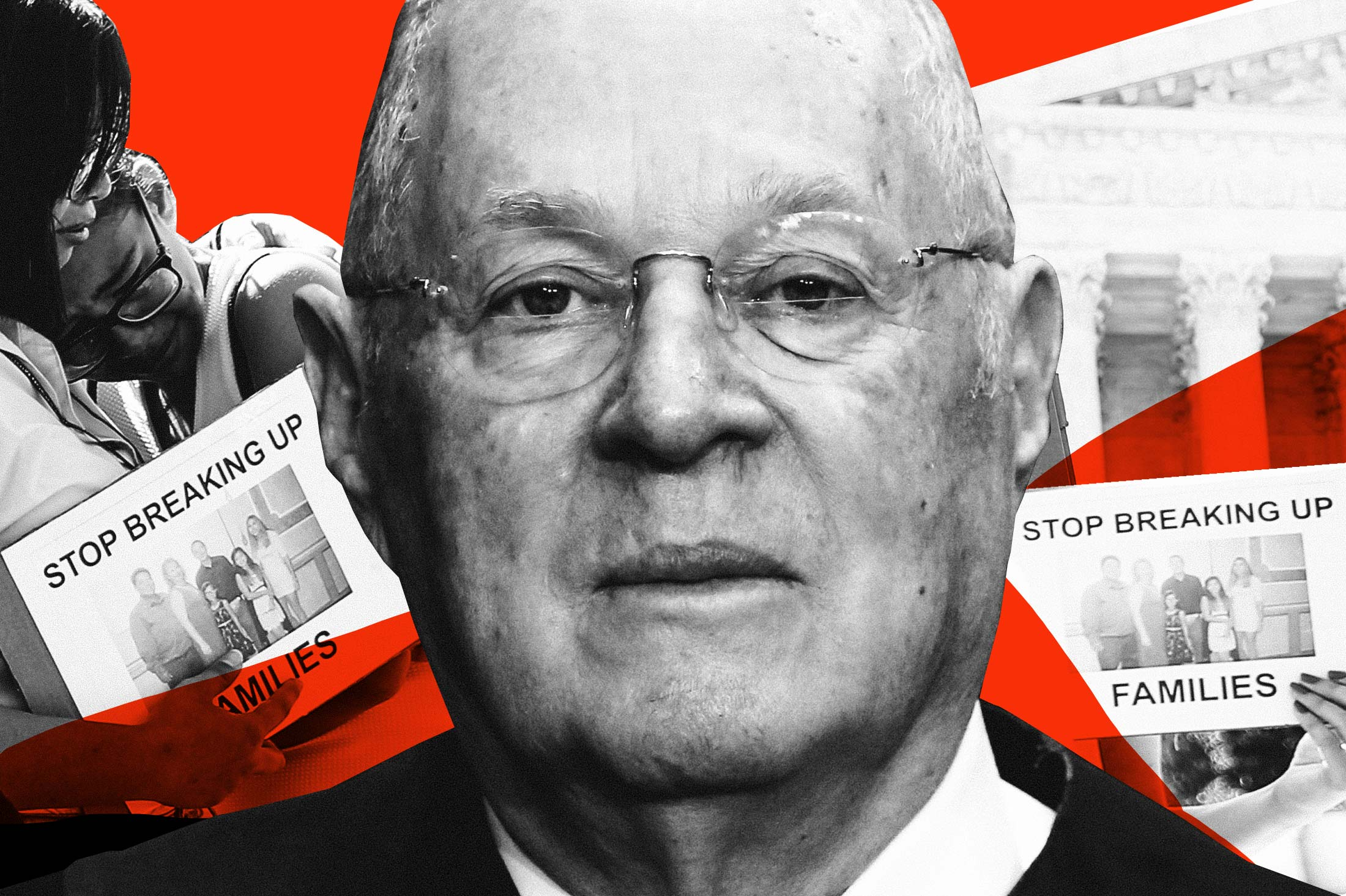Photo illustration: An image of Justice Anthony Kennedy flanked by images of protests against the administration's family separation policy.