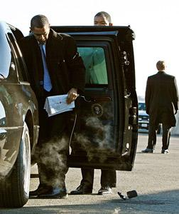 Barack Obama drops his BlackBerry. Click image to expand.