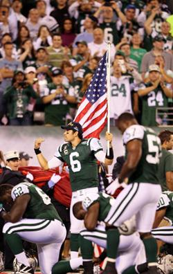Mark Sanchez #6 of the New York Jets on September 11, 2011. Click image to expand.
