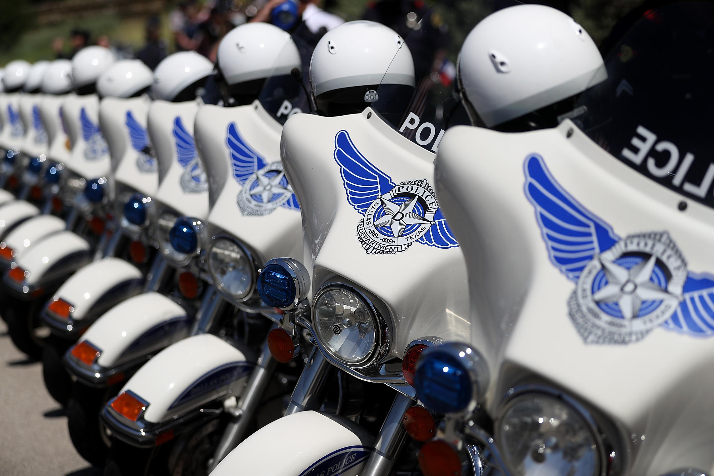Dallas police motorcycles line up outside of the funeral for slain Dallas police Sgt. Michael Smith at The Watermark Church on July 14, 2016 in Dallas, Texas.