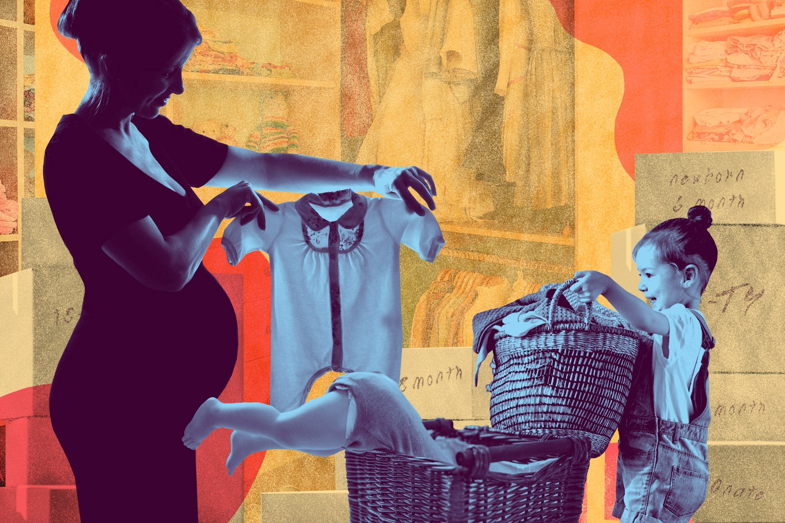 A pregnant woman holds up a onesie as a child carries a basket full of clothes. A doll spills out of another basket, and boxes are piled behind them.