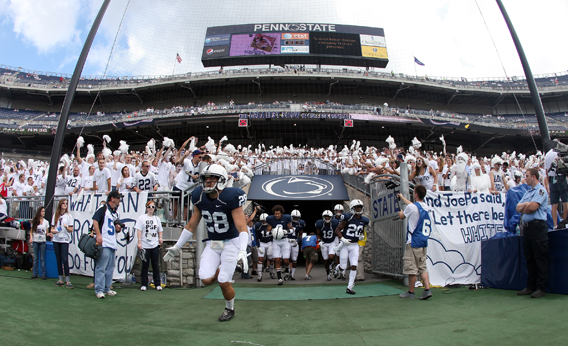 Drew Astorino #28 of the Penn State Nittany Lions takes the field before the start of thier game against the Alabama Crimson Tide at Beaver Stadium on September 10, 2011 in State College, Pennsylvania.