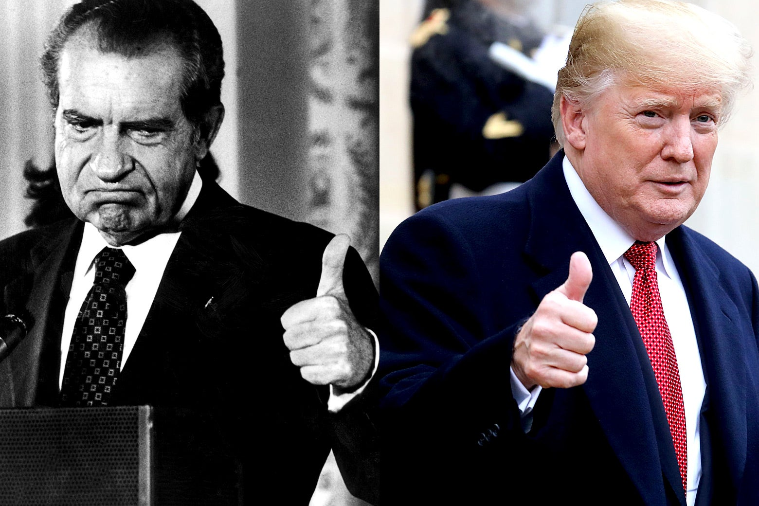 Photo illustration side-by-side of Richard Nixon and Donald Trump.