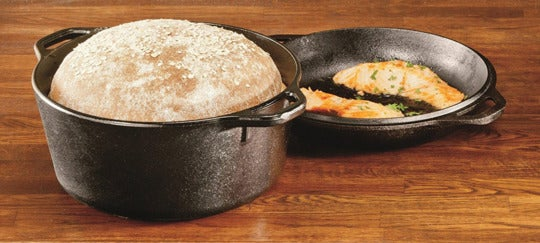 Lodge L8DD3 Cast Iron Double Dutch Oven.