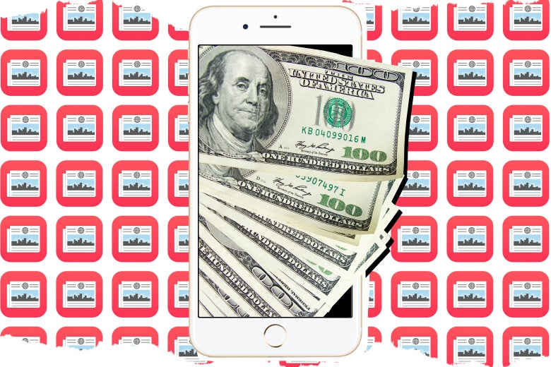 Hundred-dollar bills spill out of an iPhone against a tiled background of Apple News icons.