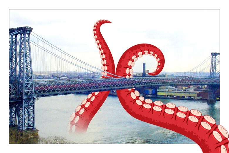 Giant octopus tentacles reaching up out of the water for the Williamsburg Bridge.