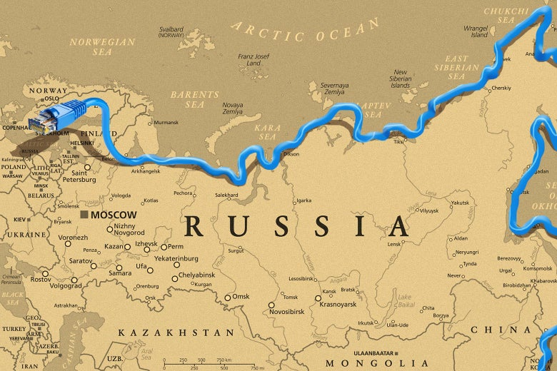 Photo illustration of a map of Russia outlined with an ethernet cable.