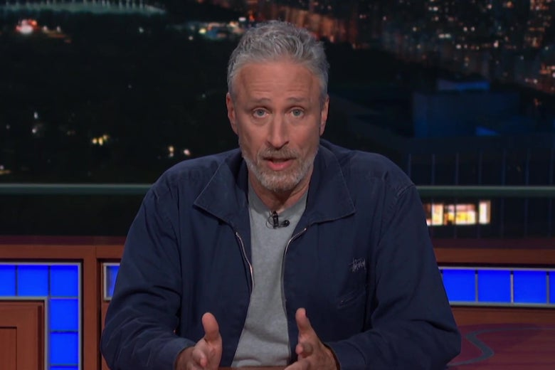 John Stewart on the Late Show with Stephen Colbert.