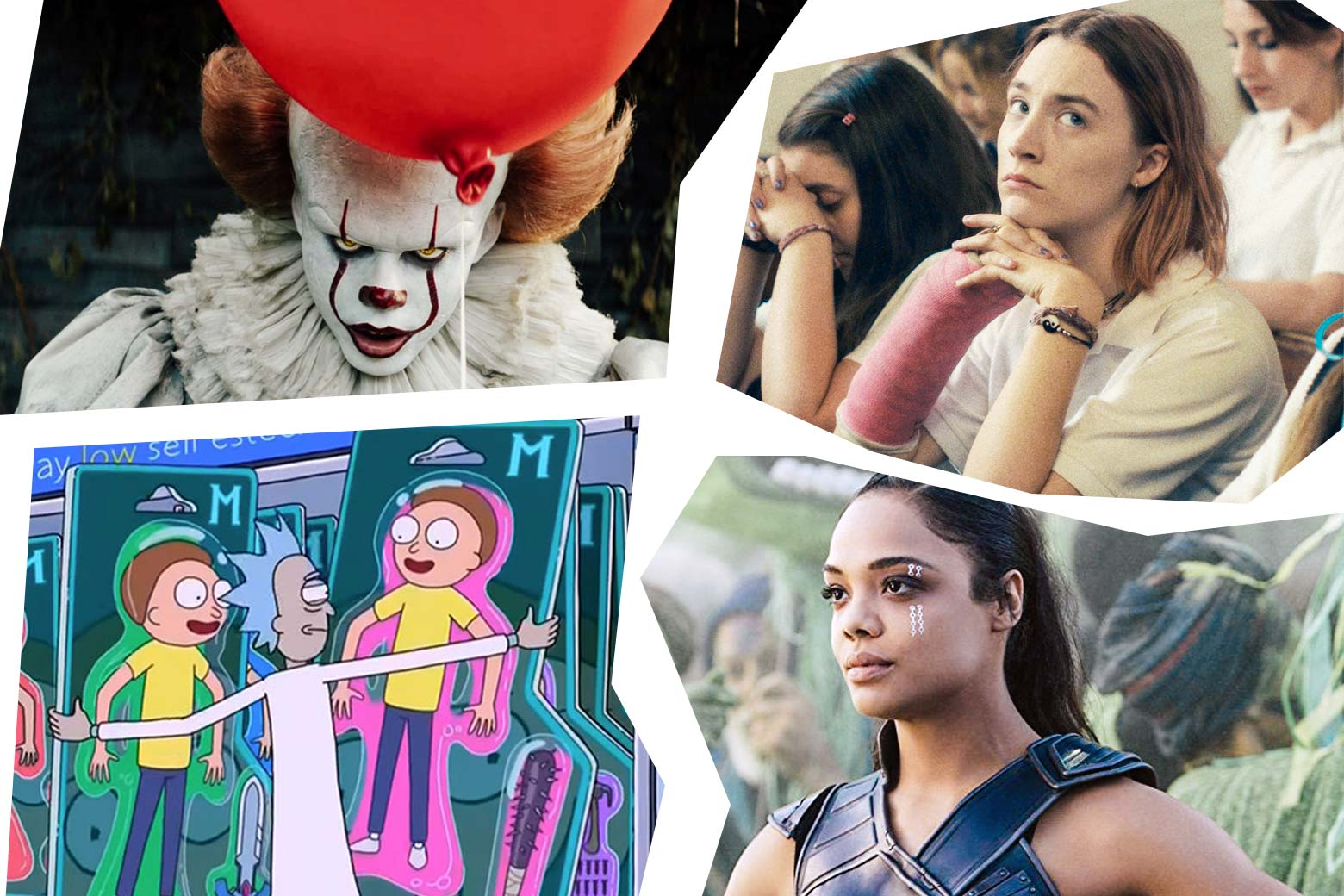 A mosaic of stills from movies and TV shows. Clockwise from the top left: Tim Curry as the clown from IT, Saoirse Ronan in Lady Bird; Tessa Thompson in Thor: Ragnarok; the animated characters Rick and Morty