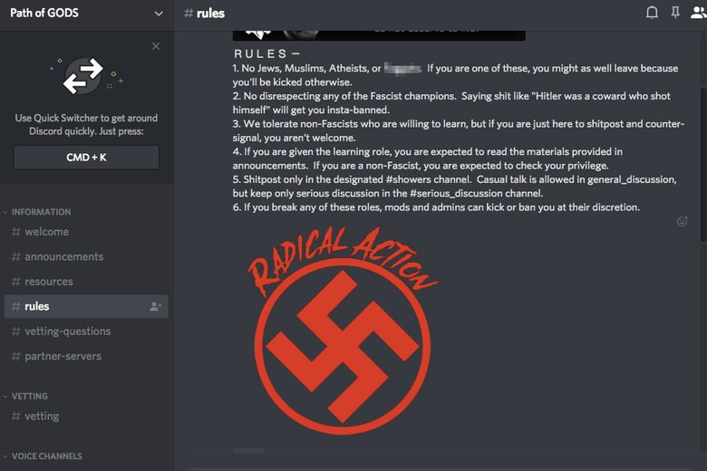Screenshot from Discord rules message board