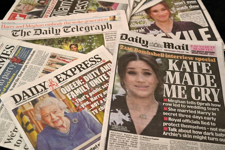 A spread of British tabloids with the Harry and Meghan interview on the cover