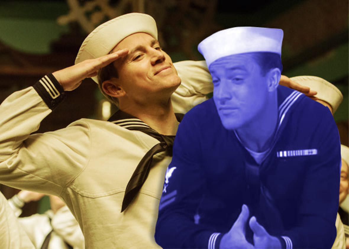 Channing Tatum in Hail, Caesar! and Gene Kelly in Anchors Aweigh.