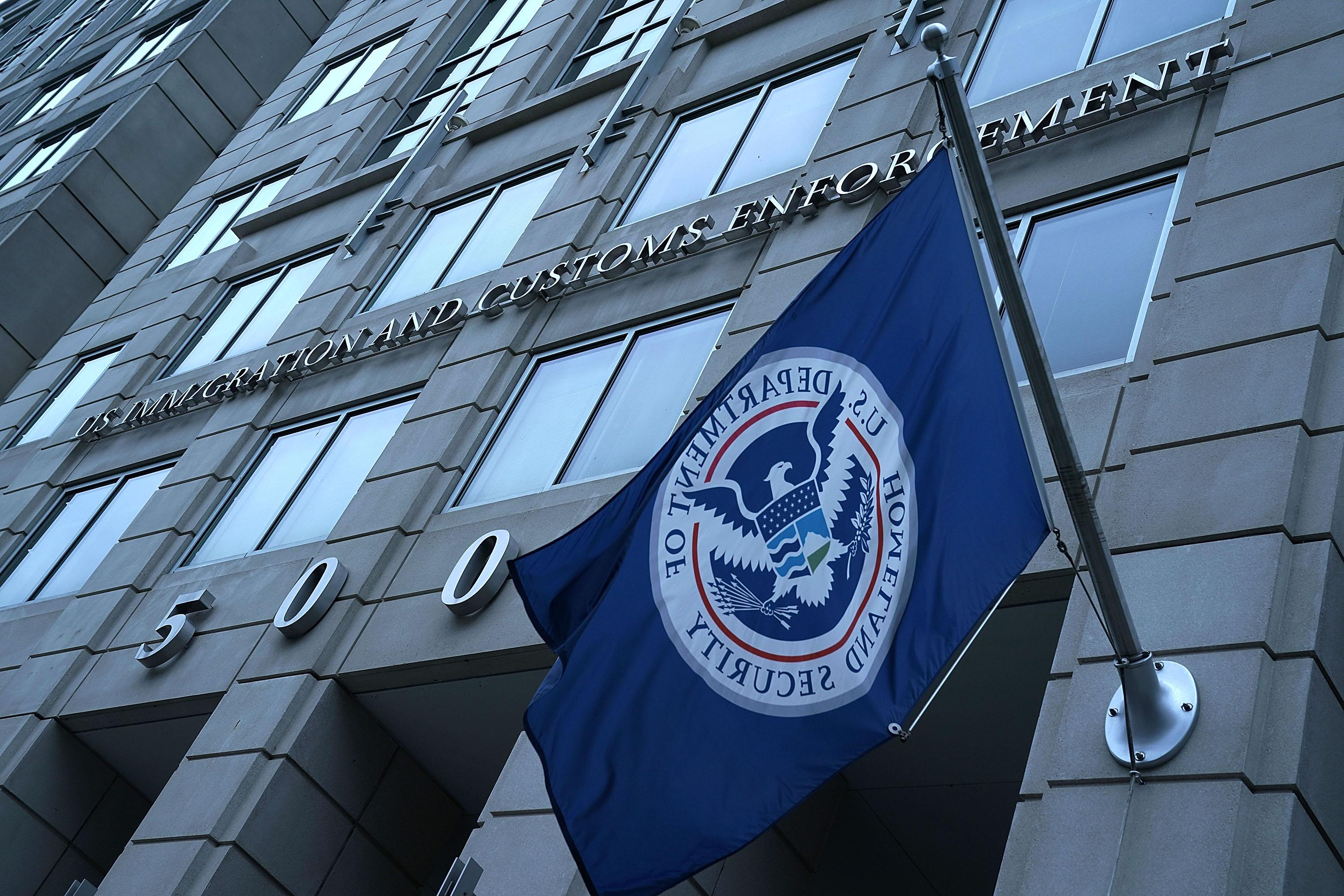 An exterior view of the U.S. Immigration and Customs Enforcement (ICE) agency headquarters in Washington, DC.