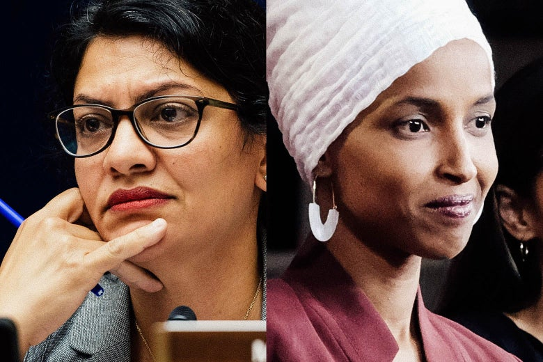 Side-by-side photos of Rashida Tlaib and Ilhan Omar.