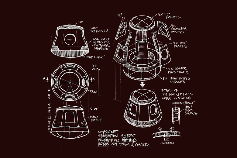 An early sketch of Phase A of Mars One's mission design.