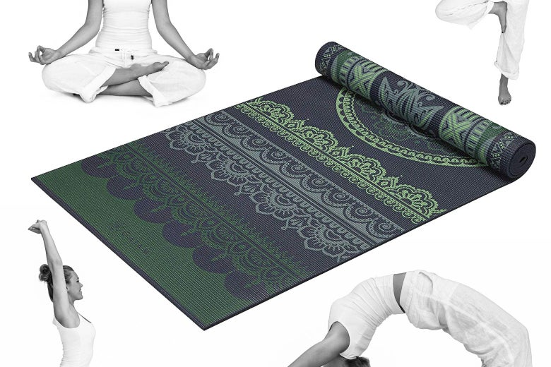 Photo illustration of a yoga mat surrounded by a woman in white doing different yoga poses.