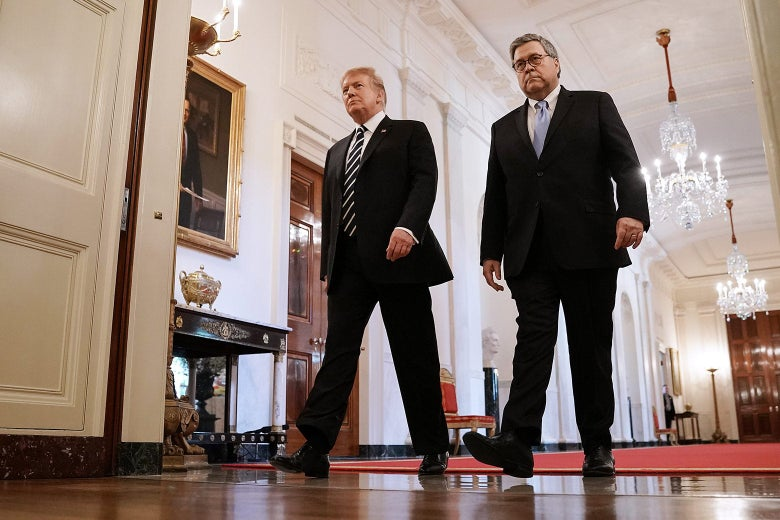 Donald Trump and William Barr walk down a hallway with chandeliers.