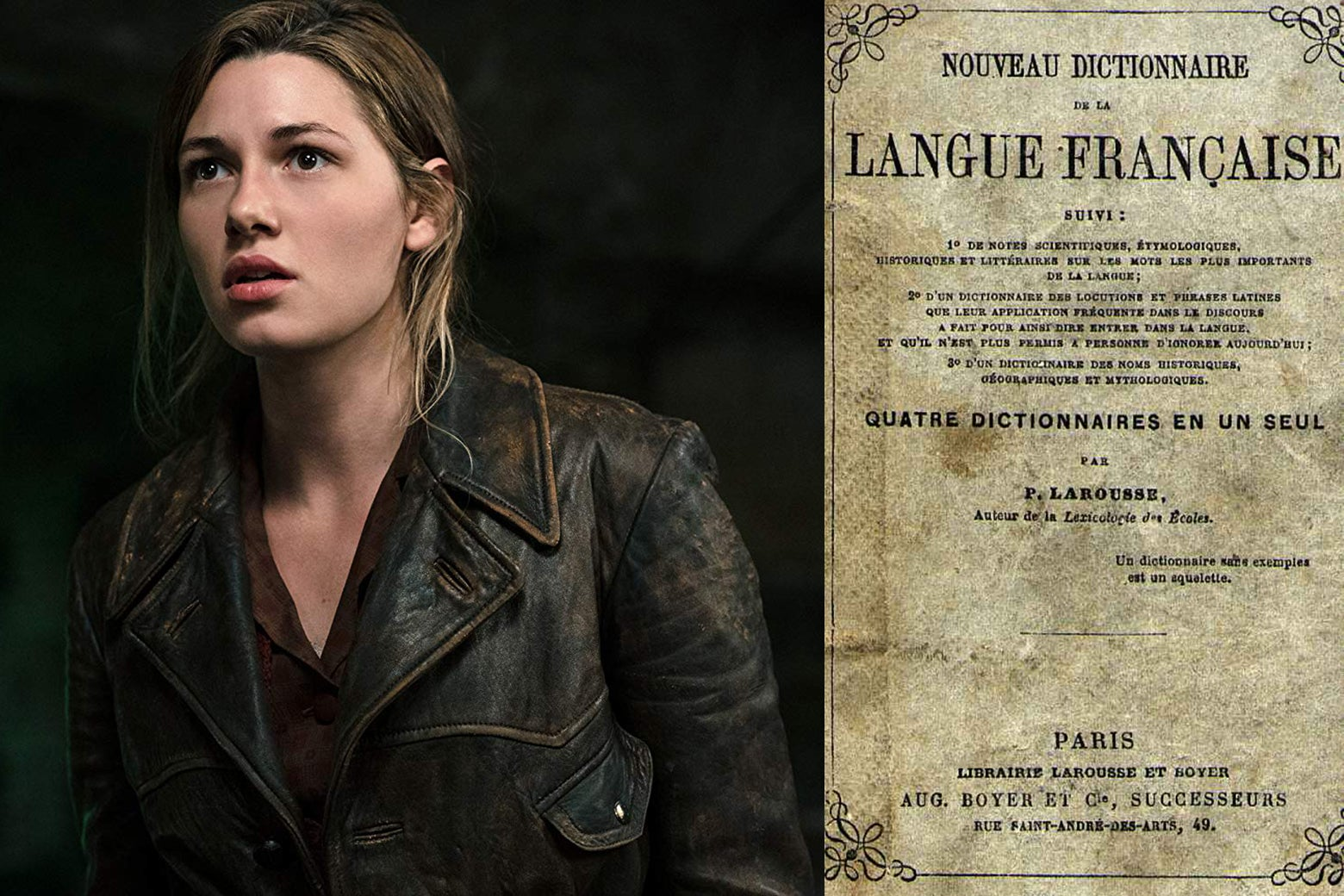 Actress Mathilde Ollivier, in a still from Overlord, and the title page of a French dictionary.