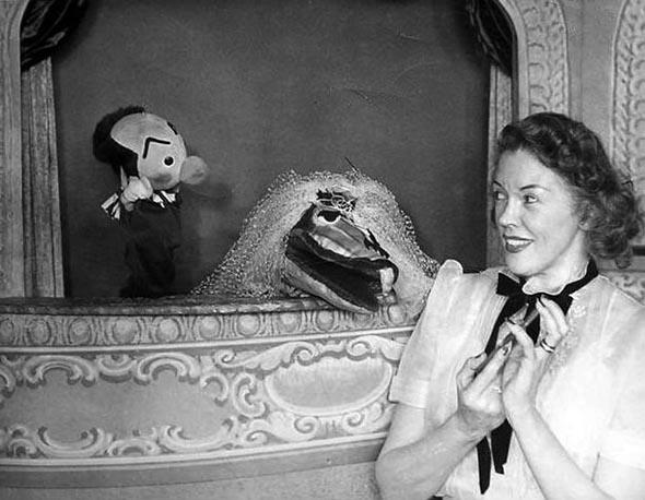 Publicity photo of Fran Allison with Kukla and Ollie from Kukla, Fran, and Ollie television program.