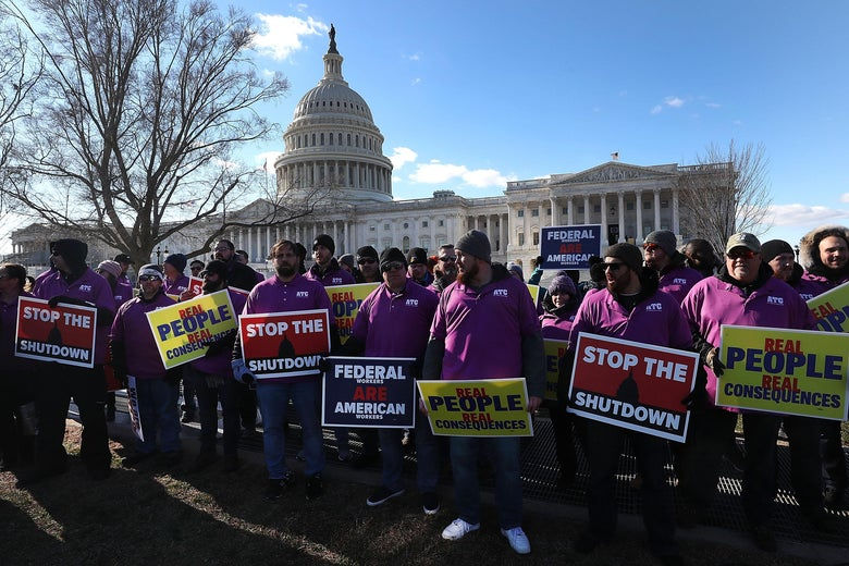 People rally against the partial federal government shutdown outside the U.S. Capitol on January 10, 2019 in Washington, D.C.
