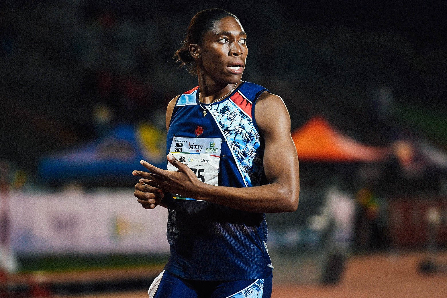 Semenya walking on the track.