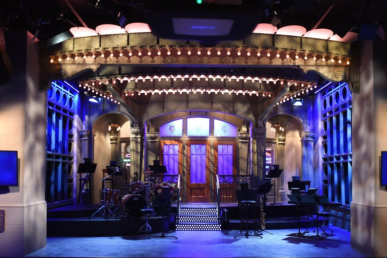 The SNL stage on display during a media preview on May 29, 2015.