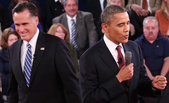 Mitt Romney and Barack Obama.