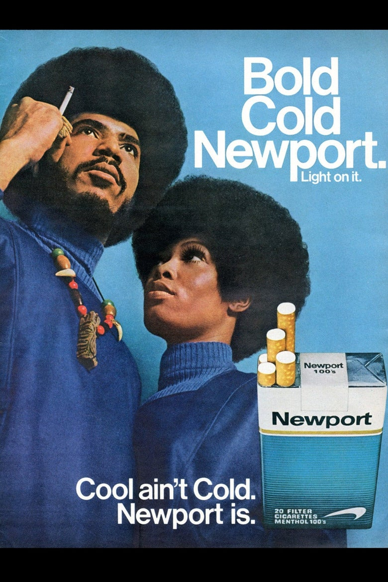 A Newport cigarette ad with a Black couple, both with afrros.