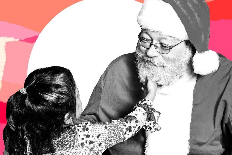 A little girl tugs on Santa's beard.