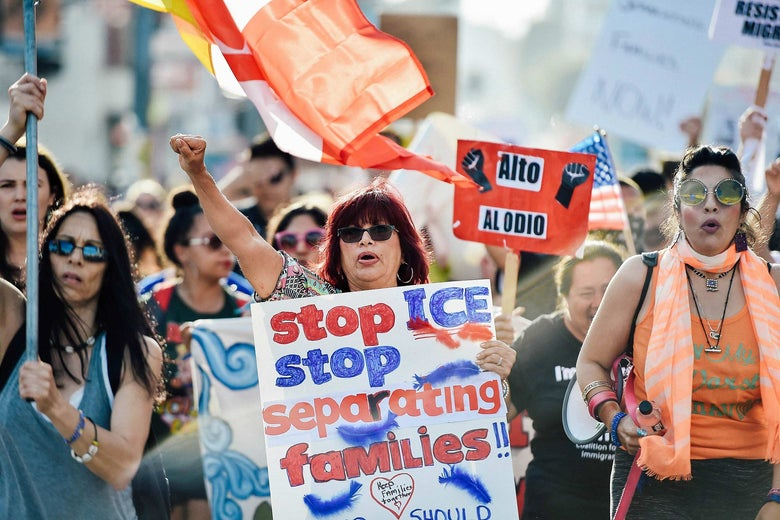 Critics of the family separation policy protest in downtown Los Angeles on June 14.