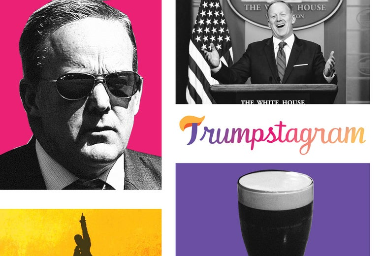 Photo illustration: a collection of images of Sean Spicer, former White House press secretary, with the Trumpstagram pop-up blog logo.