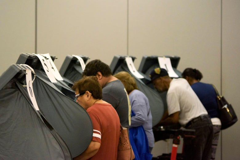 Voters cast their ballots during the Democratic presidential primary in Houston, Texas on Super Tuesday, March 3, 2020.