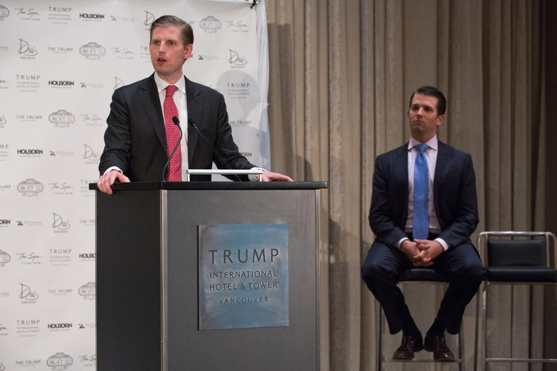 Eric Trump and  Don Trump Jr. attend the Trump International Hotel And Tower Vancouver Grand Opening on February 28, 2017 in Vancouver, Canada.