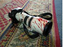 An injured photographer's camera