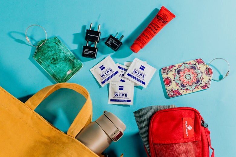 assorted travel kit items