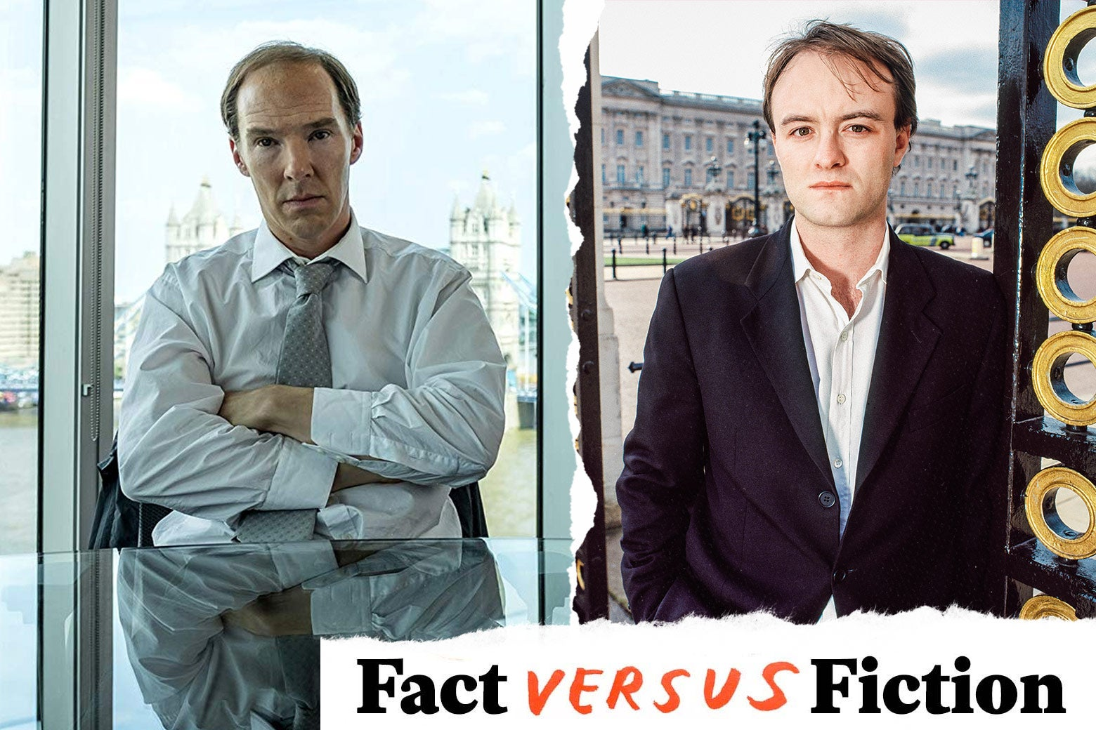 Benedict Cumberbatch as Dominic Cummings in HBO's Brexit movie, and the real Dominic Cummings.